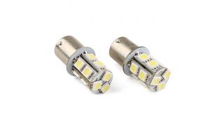 Diodlampa BA15S 13st LED VIT 2 Pack