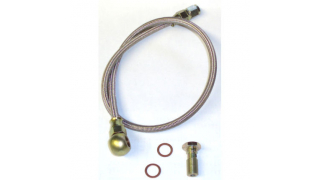 Stålomspunnen slang för behållare Längd 600mm med banjobult