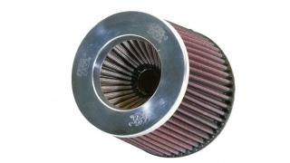 K&N Dubbelkonat luftfilter 76mm Krom