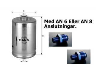 Bränslefilter MANN AN8 in och ut
